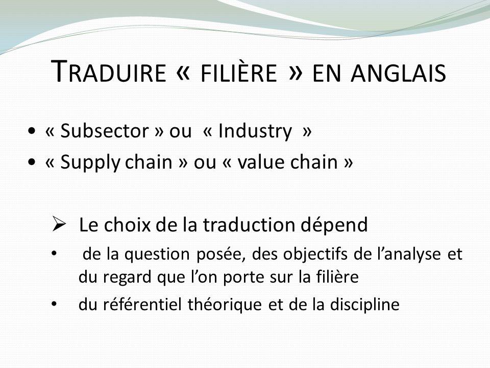 T RADUIRE « FILIÈRE » EN ANGLAIS « Subsector » ou « Industry » « Supply chain » ou « value chain » Le choix de la traduction dépend de la question pos
