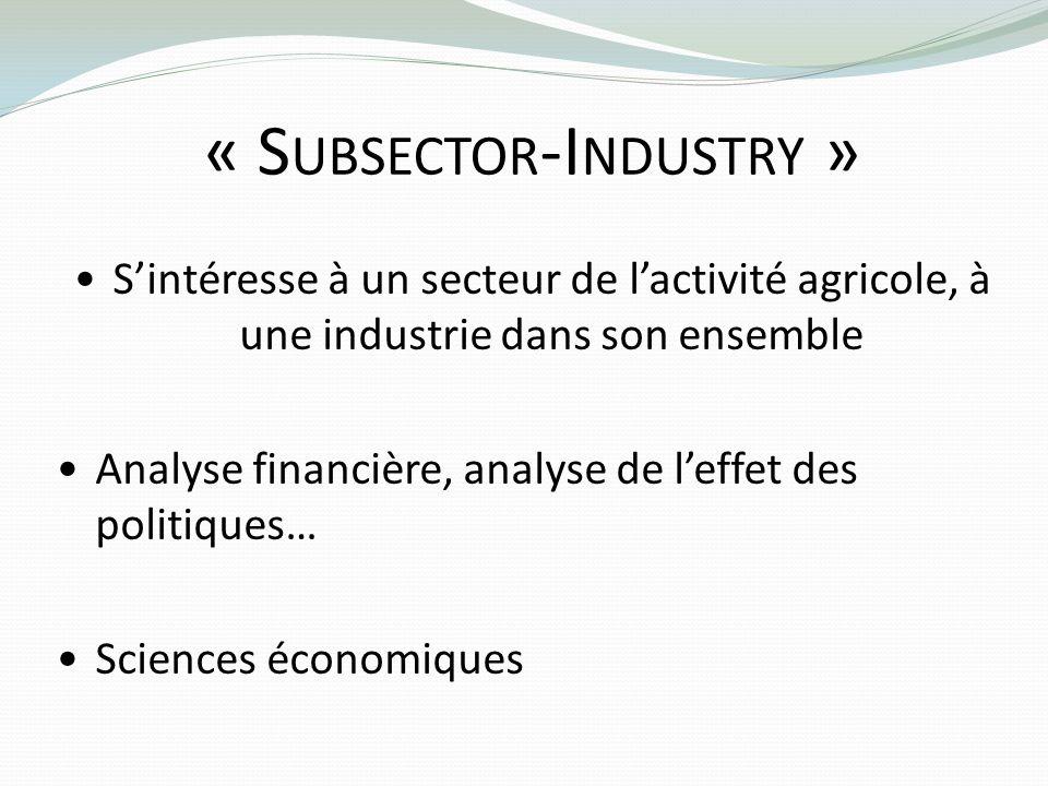 « S UBSECTOR -I NDUSTRY » Sintéresse à un secteur de lactivité agricole, à une industrie dans son ensemble Analyse financière, analyse de leffet des p