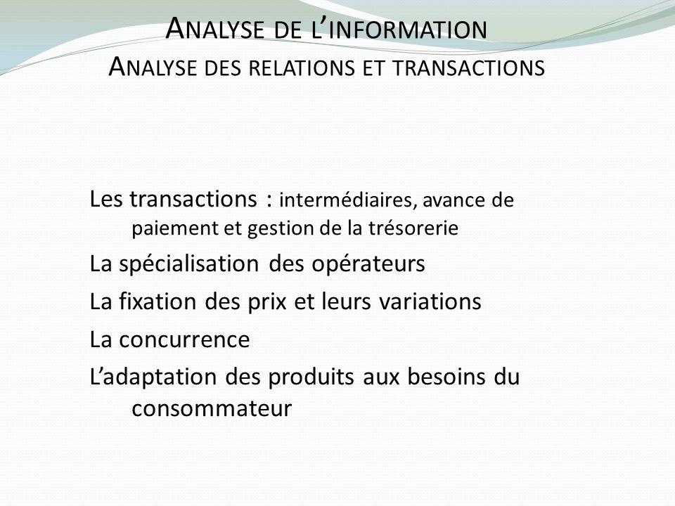 A NALYSE DE L INFORMATION A NALYSE DES RELATIONS ET TRANSACTIONS Les transactions : intermédiaires, avance de paiement et gestion de la trésorerie La