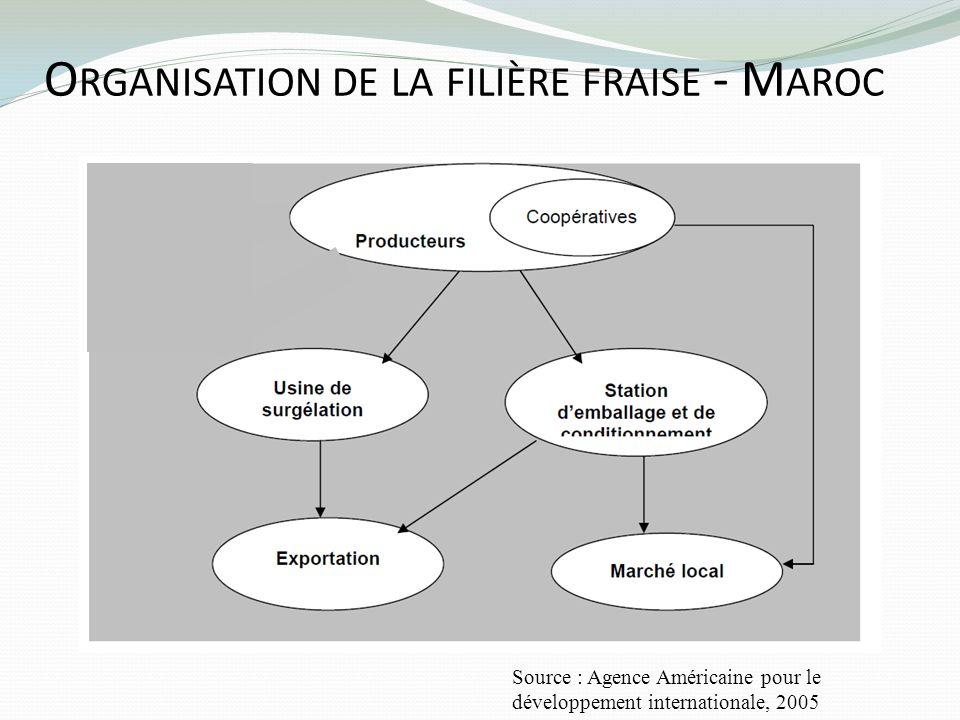 O RGANISATION DE LA FILIÈRE FRAISE - M AROC Source : Agence Américaine pour le développement internationale, 2005