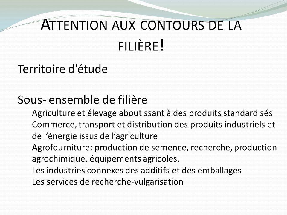 A TTENTION AUX CONTOURS DE LA FILIÈRE ! Territoire détude Sous- ensemble de filière Agriculture et élevage aboutissant à des produits standardisés Com