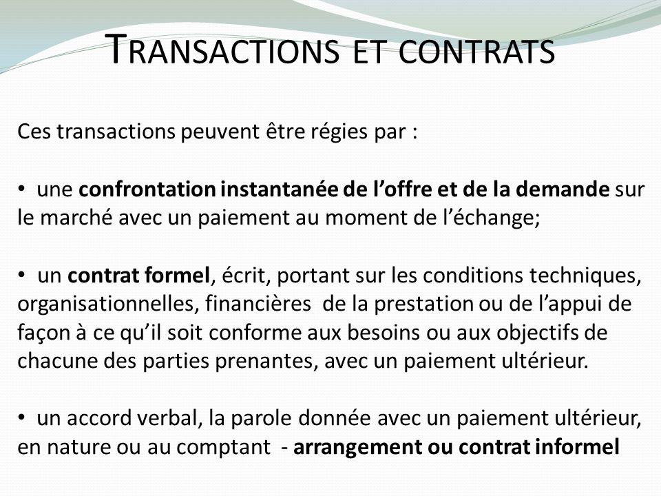 T RANSACTIONS ET CONTRATS Ces transactions peuvent être régies par : une confrontation instantanée de loffre et de la demande sur le marché avec un pa