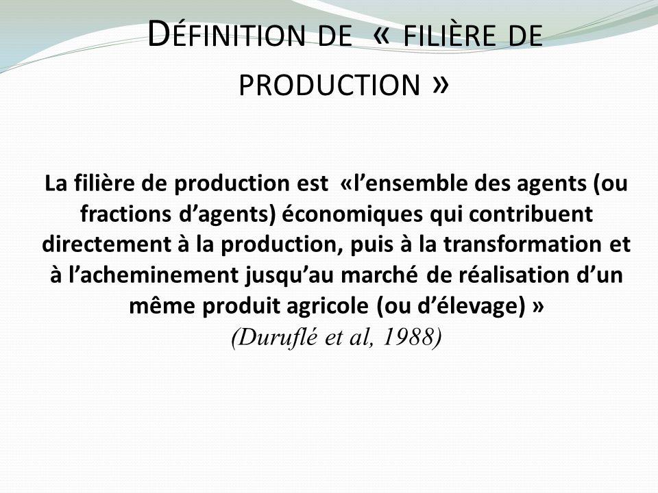 D ÉFINITION DE « FILIÈRE DE PRODUCTION » La filière de production est «lensemble des agents (ou fractions dagents) économiques qui contribuent directe