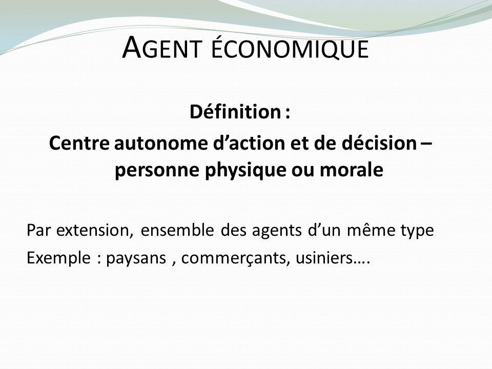 A GENT ÉCONOMIQUE Définition : Centre autonome daction et de décision – personne physique ou morale Par extension, ensemble des agents dun même type E