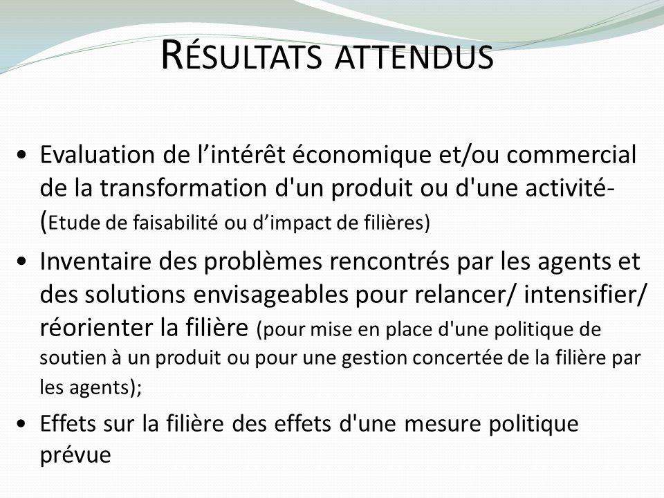 R ÉSULTATS ATTENDUS Evaluation de lintérêt économique et/ou commercial de la transformation d'un produit ou d'une activité- ( Etude de faisabilité ou