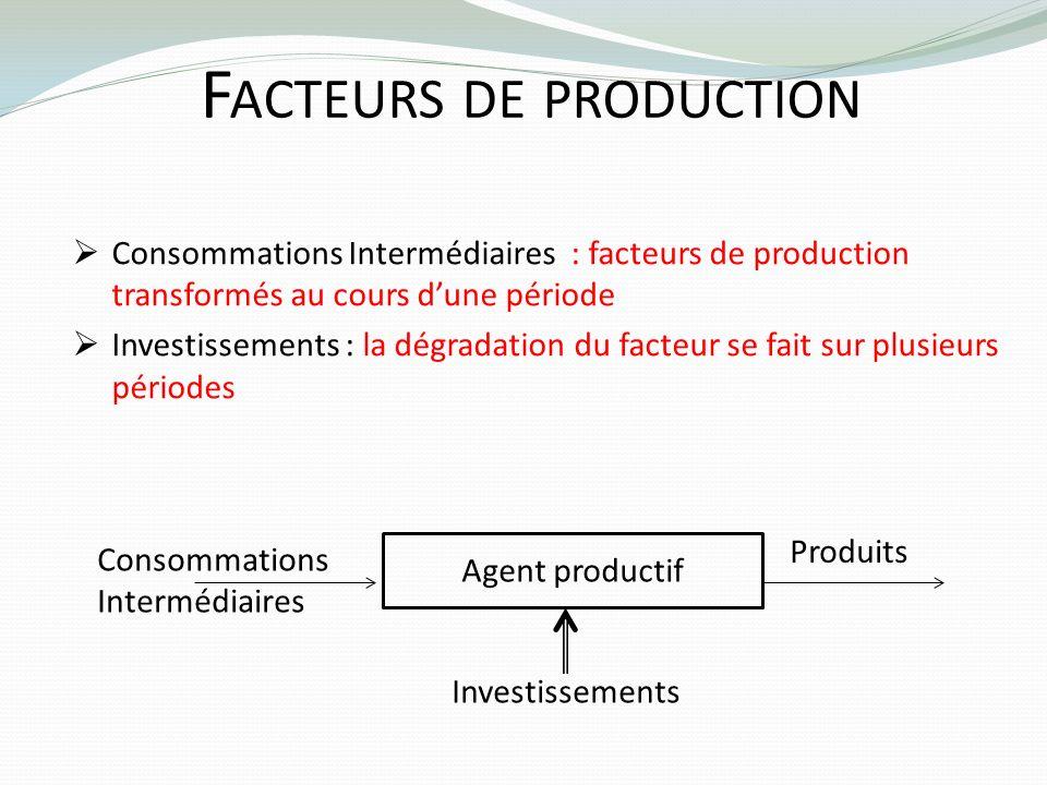 F ACTEURS DE PRODUCTION Consommations Intermédiaires : facteurs de production transformés au cours dune période Investissements : la dégradation du fa