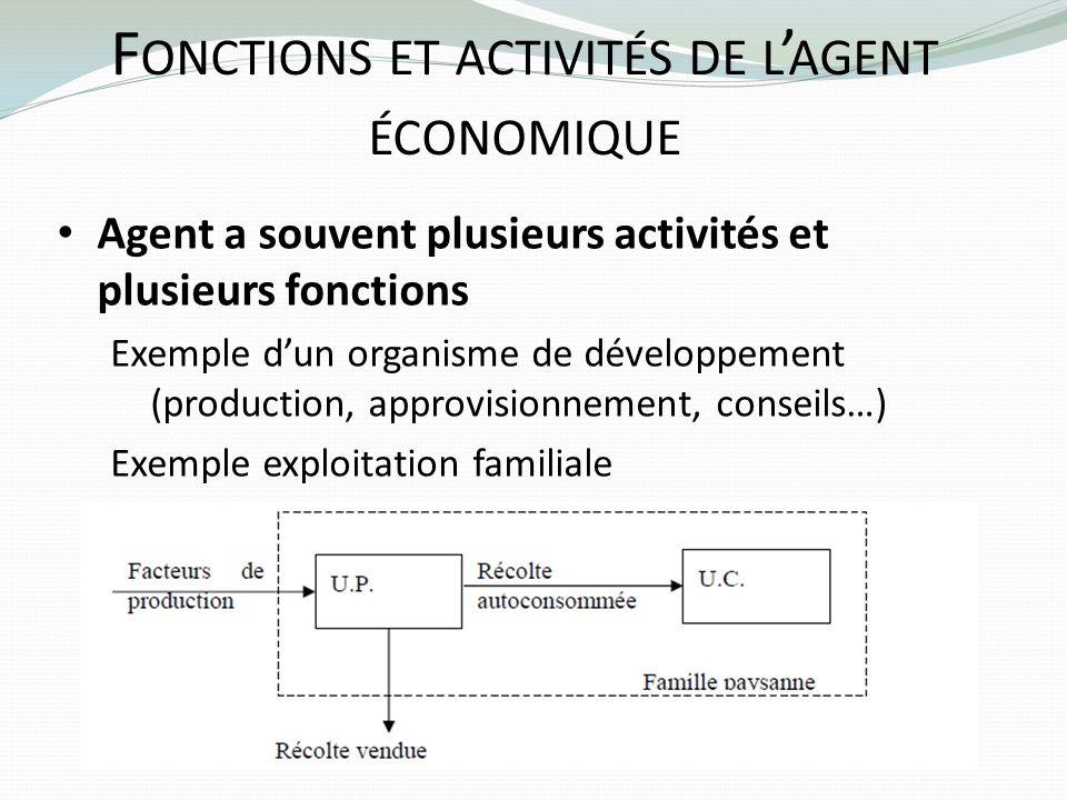 F ONCTIONS ET ACTIVITÉS DE L AGENT ÉCONOMIQUE Agent a souvent plusieurs activités et plusieurs fonctions Exemple dun organisme de développement (produ