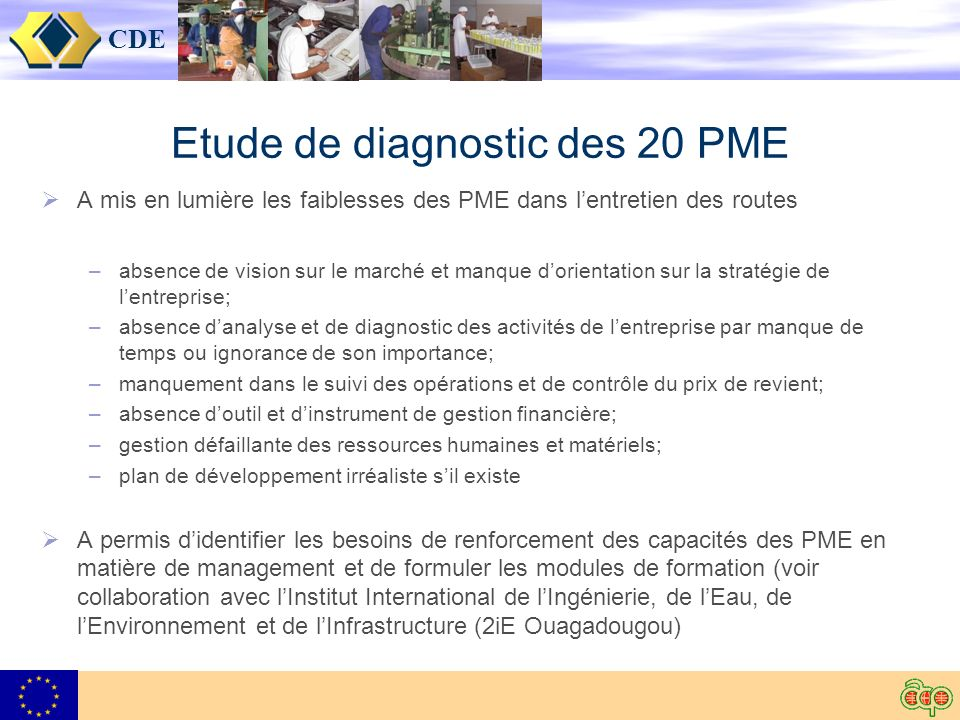 CDE Etude de diagnostic des 20 PME A mis en lumière les faiblesses des PME dans lentretien des routes –absence de vision sur le marché et manque dorie