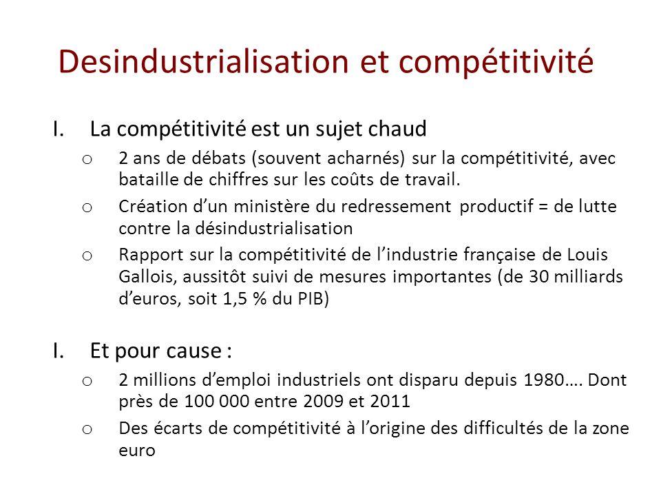 Desindustrialisation et compétitivité I.La compétitivité est un sujet chaud o 2 ans de débats (souvent acharnés) sur la compétitivité, avec bataille de chiffres sur les coûts de travail.