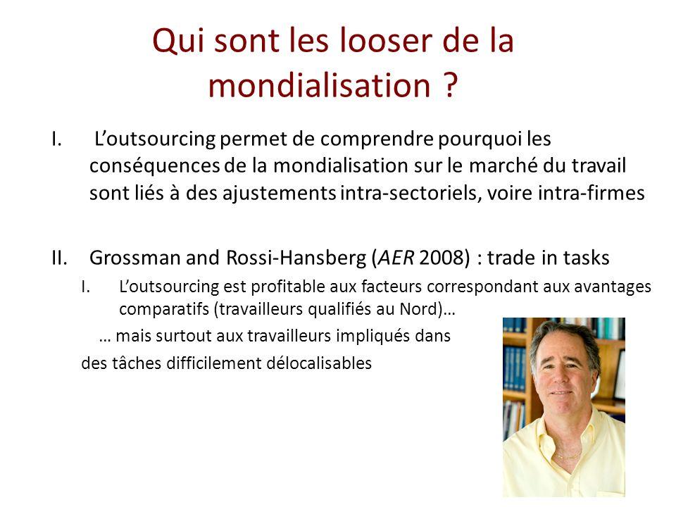 Qui sont les looser de la mondialisation ? I. Loutsourcing permet de comprendre pourquoi les conséquences de la mondialisation sur le marché du travai