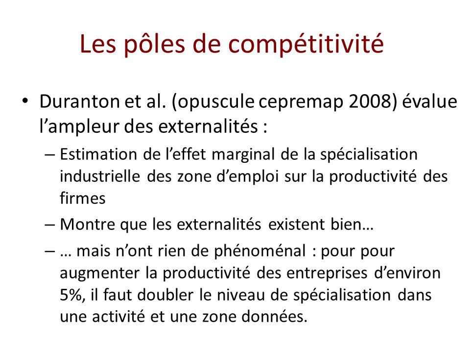 Duranton et al. (opuscule cepremap 2008) évalue lampleur des externalités : – Estimation de leffet marginal de la spécialisation industrielle des zone