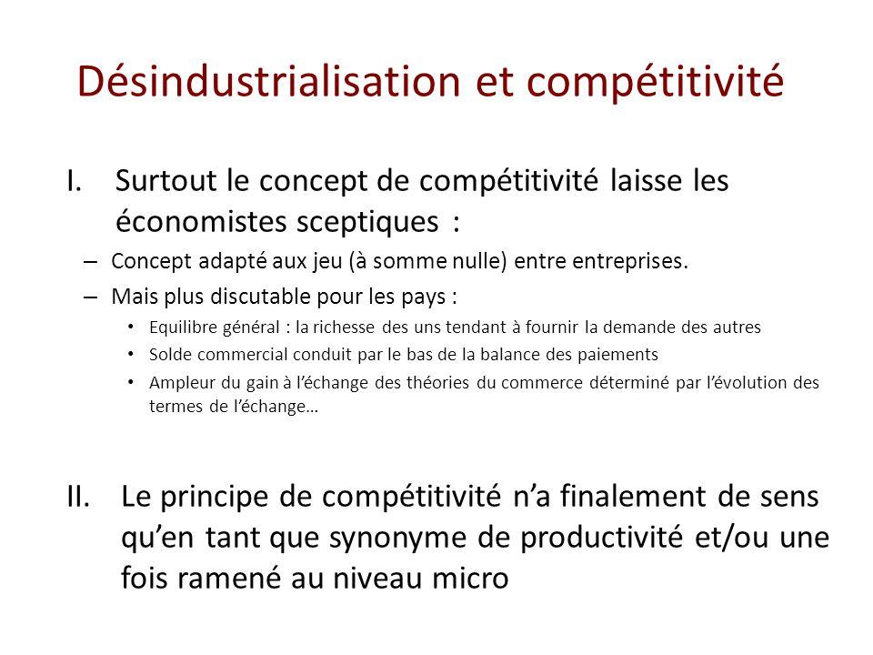 Désindustrialisation et compétitivité I.Surtout le concept de compétitivité laisse les économistes sceptiques : – Concept adapté aux jeu (à somme nulle) entre entreprises.