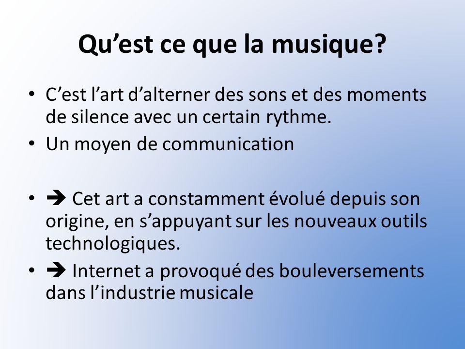 Quest ce que la musique? Cest lart dalterner des sons et des moments de silence avec un certain rythme. Un moyen de communication Cet art a constammen