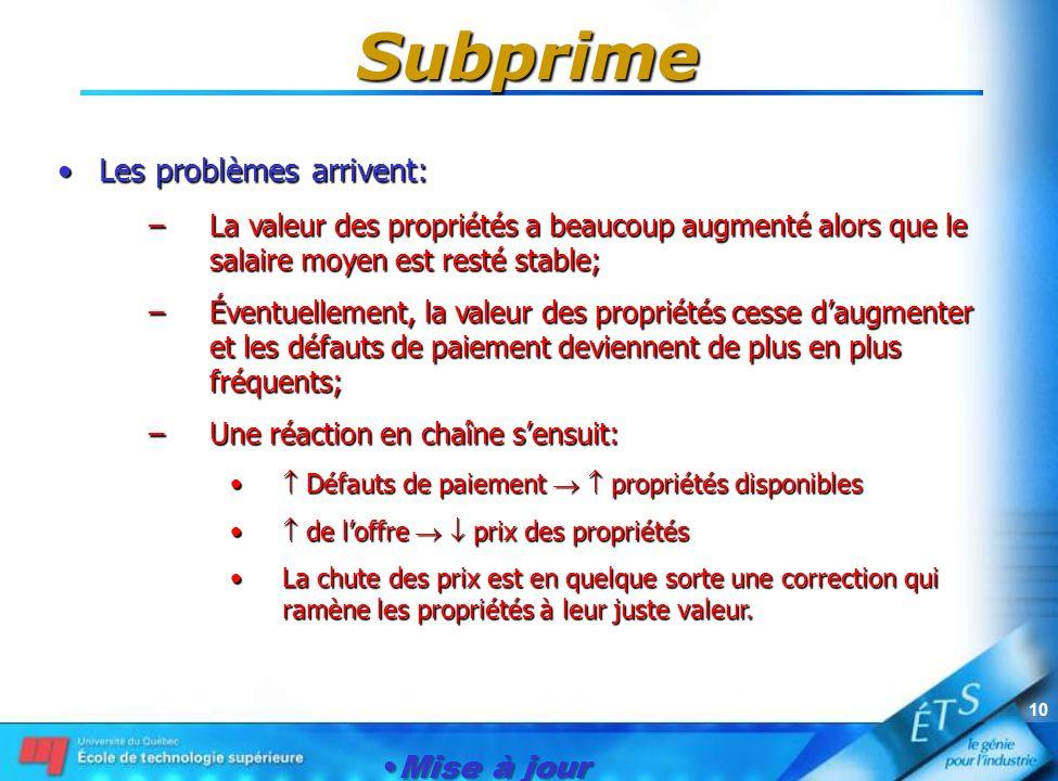 Mise à jour le 1er janvier 2007 10 Subprime Les problèmes arrivent:Les problèmes arrivent: –La valeur des propriétés a beaucoup augmenté alors que le