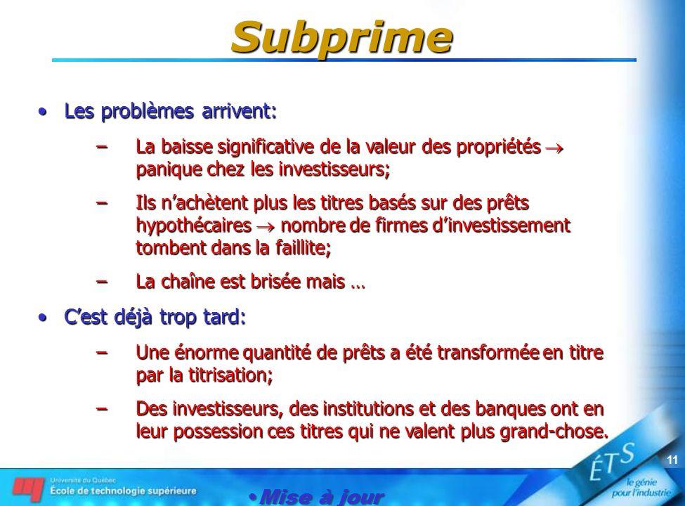 Mise à jour le 1er janvier 2007 11 Subprime Les problèmes arrivent:Les problèmes arrivent: –La baisse significative de la valeur des propriétés paniqu