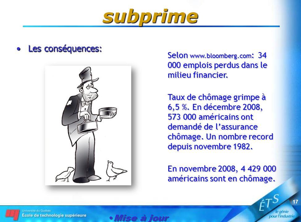 Mise à jour le 1er janvier 2007 17 subprime Les conséquences:Les conséquences: Selon www.bloomberg.com : 34 000 emplois perdus dans le milieu financie