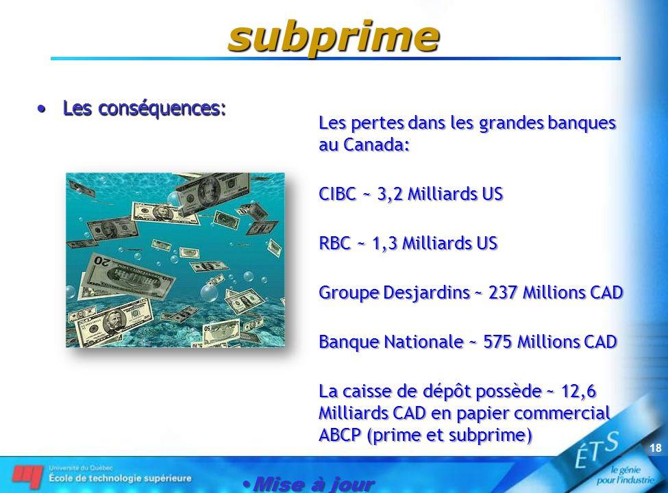 Mise à jour le 1er janvier 2007 18 subprime Les conséquences:Les conséquences: Les pertes dans les grandes banques au Canada: CIBC ~ 3,2 Milliards US