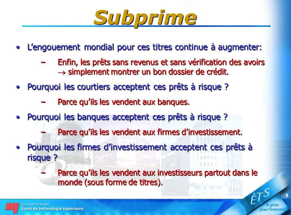 8 Subprime Lengouement mondial pour ces titres continue à augmenter:Lengouement mondial pour ces titres continue à augmenter: –Enfin, les prêts sans r
