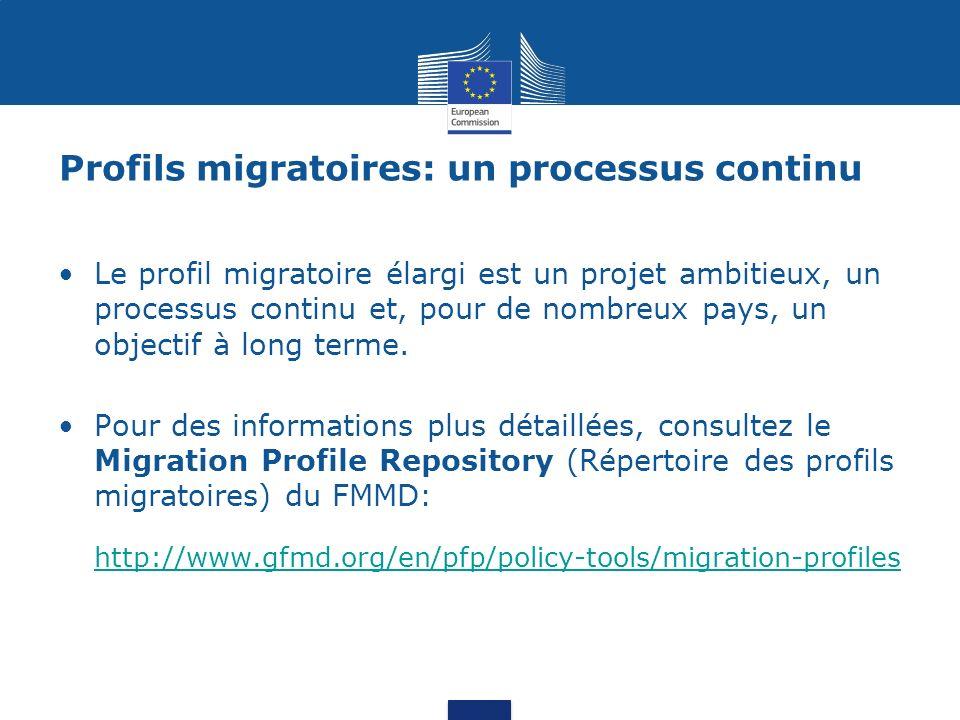 Profils migratoires: un processus continu Le profil migratoire élargi est un projet ambitieux, un processus continu et, pour de nombreux pays, un obje