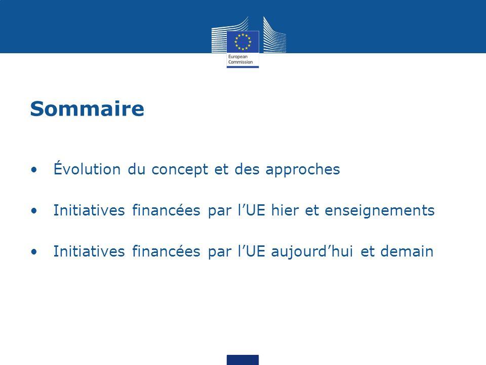 Sommaire Évolution du concept et des approches Initiatives financées par lUE hier et enseignements Initiatives financées par lUE aujourdhui et demain
