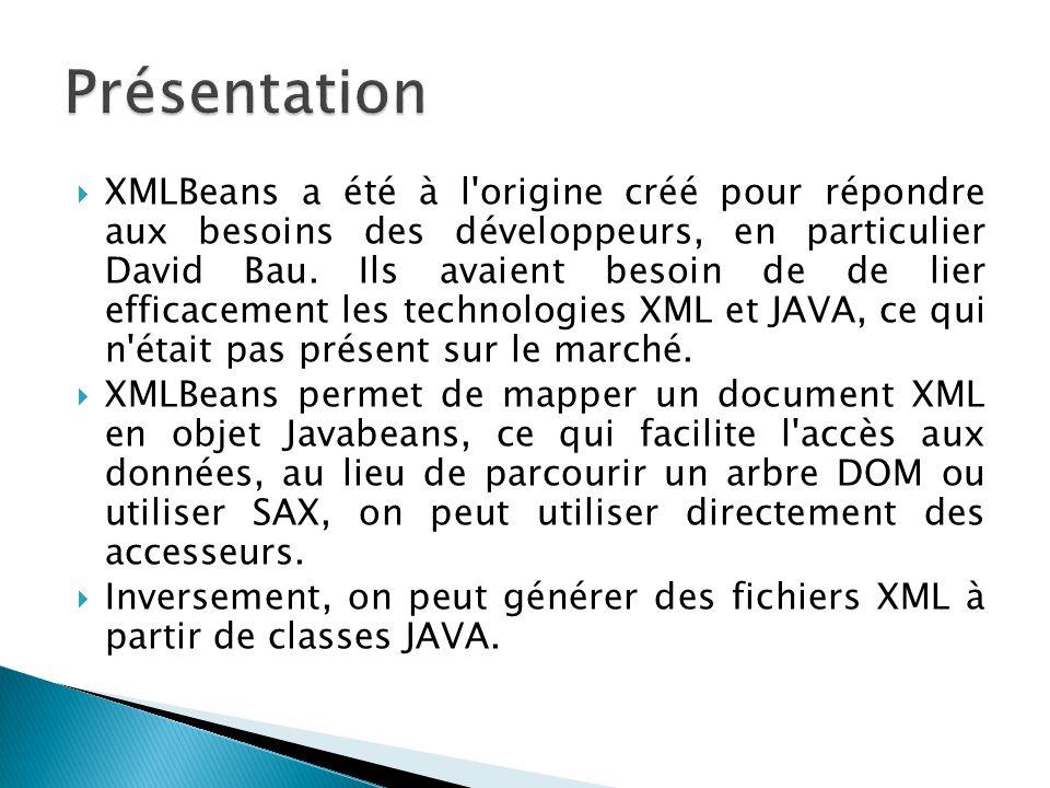XMLBeans a été à l'origine créé pour répondre aux besoins des développeurs, en particulier David Bau. Ils avaient besoin de de lier efficacement les t