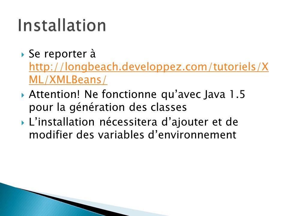 Se reporter à http://longbeach.developpez.com/tutoriels/X ML/XMLBeans/ http://longbeach.developpez.com/tutoriels/X ML/XMLBeans/ Attention! Ne fonction