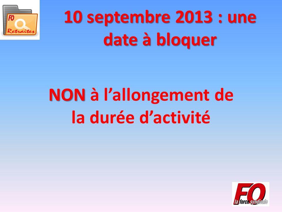 10 septembre 2013 : une date à bloquer NON NON à lallongement de la durée dactivité