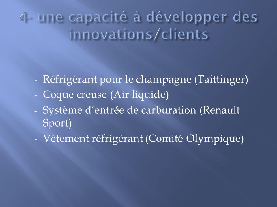 - Réfrigérant pour le champagne (Taittinger) - Coque creuse (Air liquide) - Système dentrée de carburation (Renault Sport) - Vêtement réfrigérant (Com