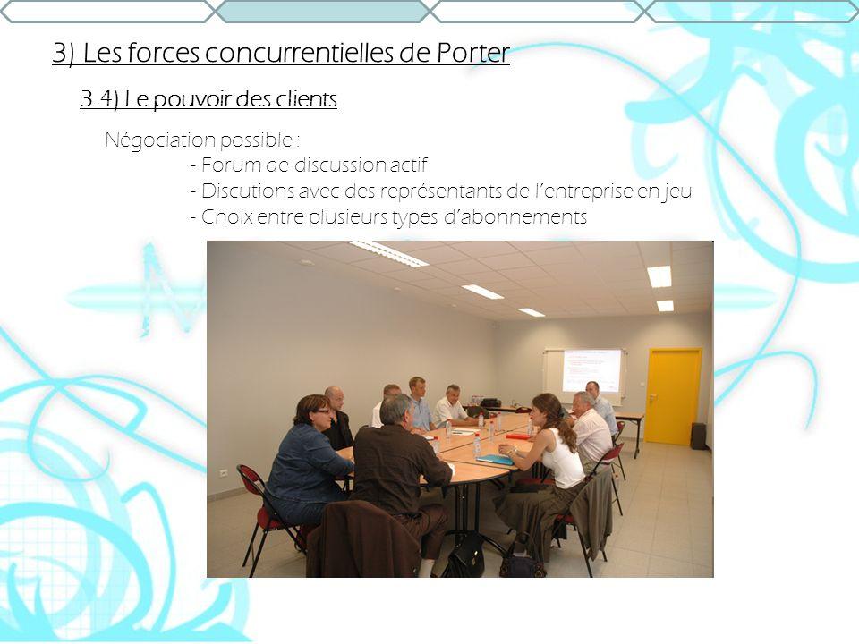 3) Les forces concurrentielles de Porter 3.4) Le pouvoir des clients Négociation possible : - Forum de discussion actif - Discutions avec des représen