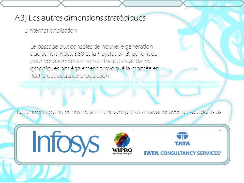 A3) Les autres dimensions stratégiques Linternationalisation Le passage aux consoles de nouvelle génération que sont la Xbox 360 et la Playstation 3,