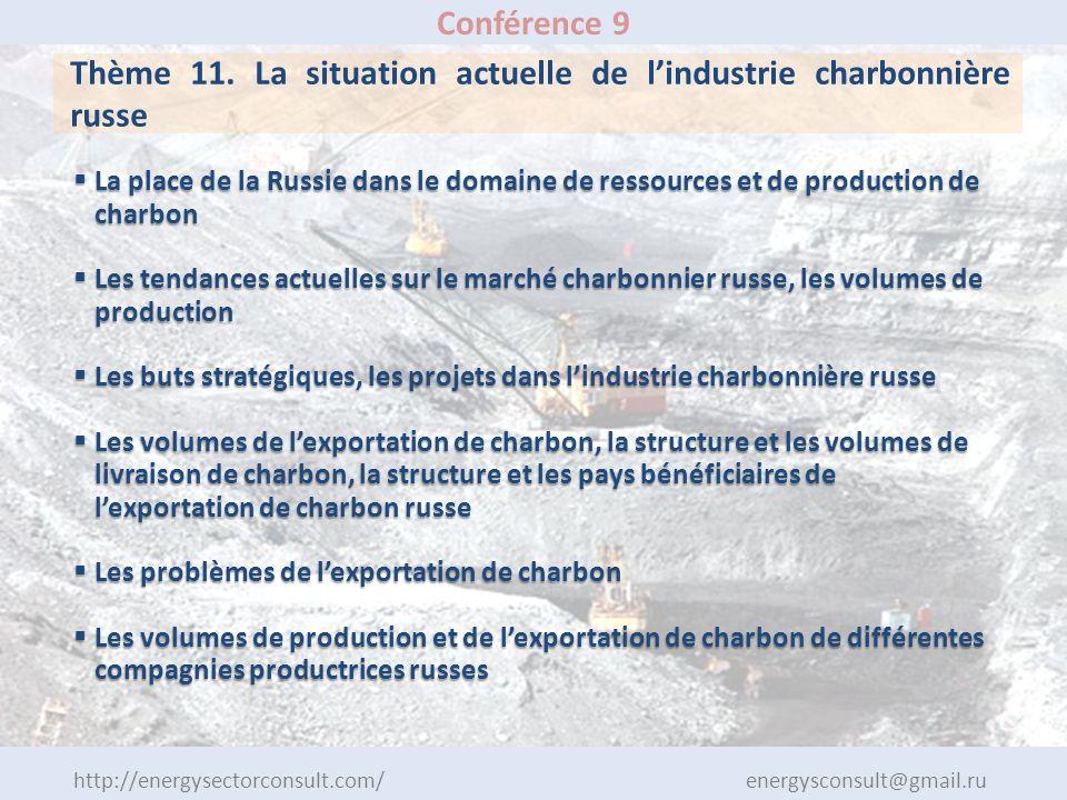 http://energysectorconsult.com/ energysconsult@gmail.ru Conférence 9 Thème 11. La situation actuelle de lindustrie charbonnière russe La place de la R