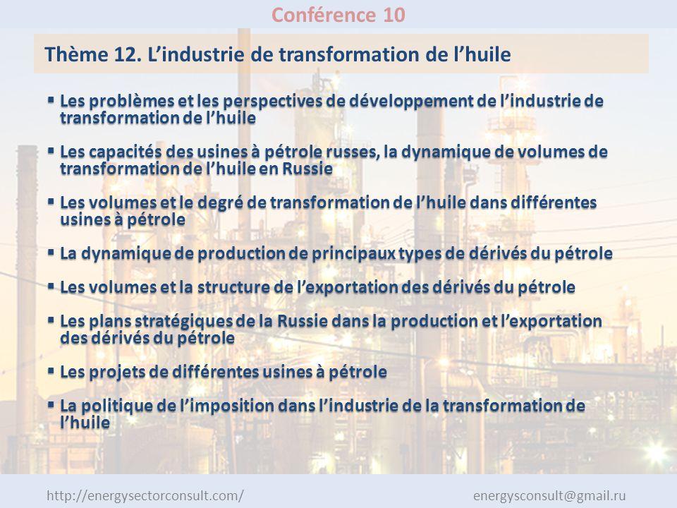 http://energysectorconsult.com/ energysconsult@gmail.ru Conférence 10 Thème 12. Lindustrie de transformation de lhuile Les problèmes et les perspectiv