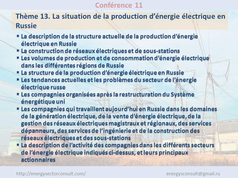 http://energysectorconsult.com/ energysconsult@gmail.ru Conférence 11 Thème 13. La situation de la production dénergie électrique en Russie La descrip