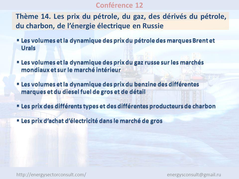 http://energysectorconsult.com/ energysconsult@gmail.ru Conférence 12 Thème 14. Les prix du pétrole, du gaz, des dérivés du pétrole, du charbon, de lé