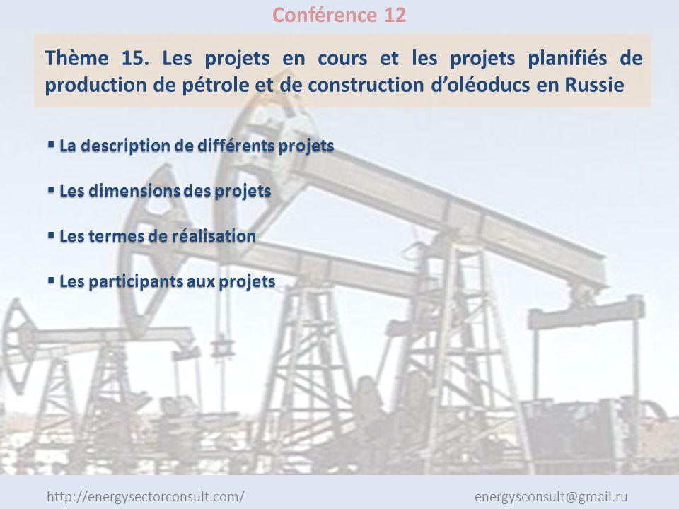 http://energysectorconsult.com/ energysconsult@gmail.ru Conférence 12 Thème 15. Les projets en cours et les projets planifiés de production de pétrole
