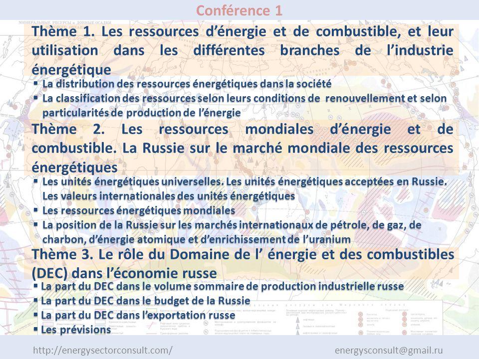 http://energysectorconsult.com/ energysconsult@gmail.ru Conférence 1 Thème 1. Les ressources dénergie et de combustible, et leur utilisation dans les