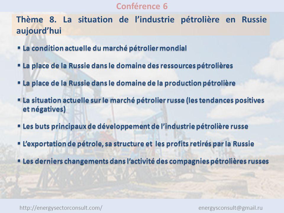 http://energysectorconsult.com/ energysconsult@gmail.ru Conférence 6 Thème 8. La situation de lindustrie pétrolière en Russie aujourdhui La condition