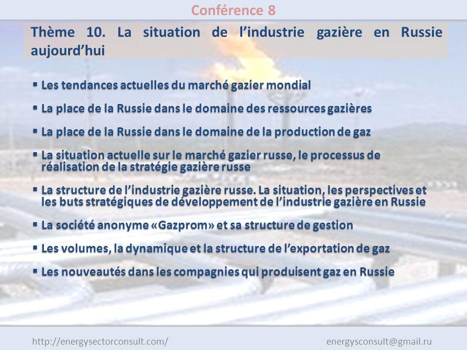 http://energysectorconsult.com/ energysconsult@gmail.ru Conférence 8 Thème 10. La situation de lindustrie gazière en Russie aujourdhui Les tendances a