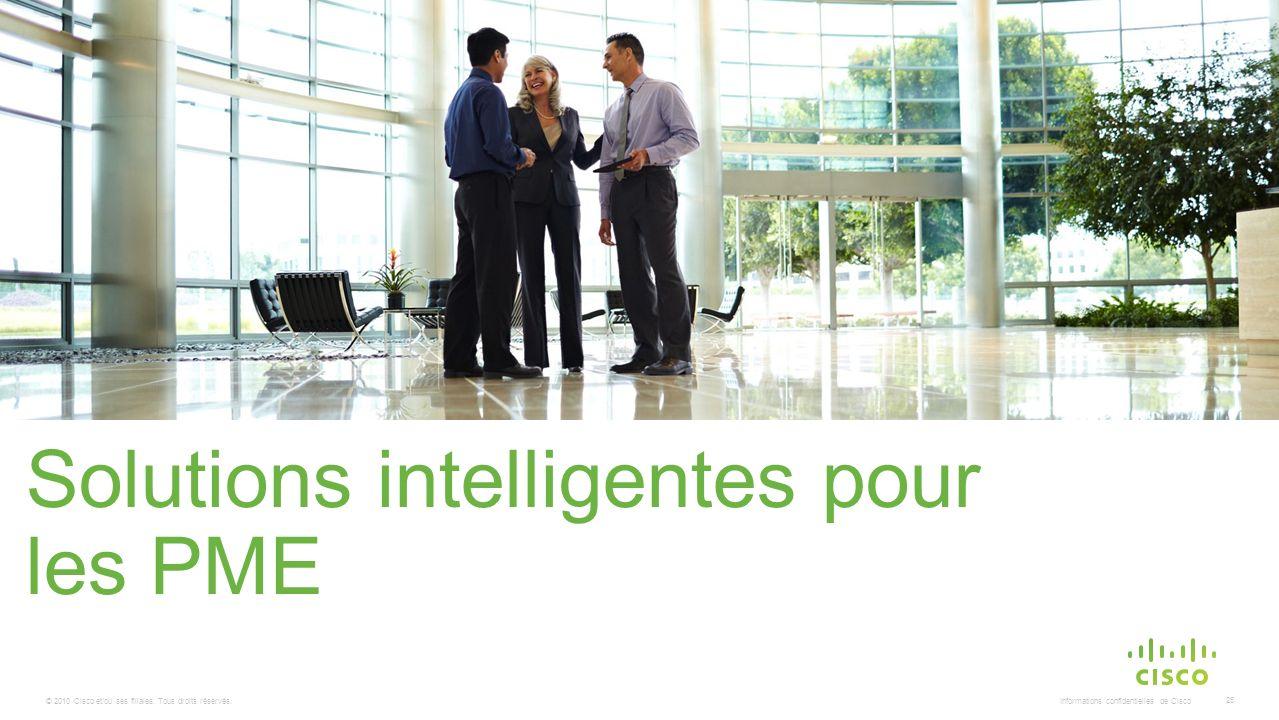 © 2010 Cisco et/ou ses filiales. Tous droits réservés. Informations confidentielles de Cisco 25 Solutions intelligentes pour les PME