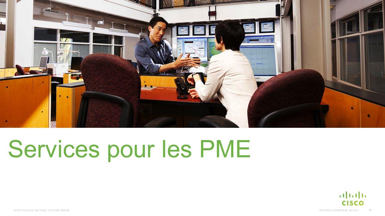 © 2010 Cisco et/ou ses filiales. Tous droits réservés. Informations confidentielles de Cisco 28 Services pour les PME