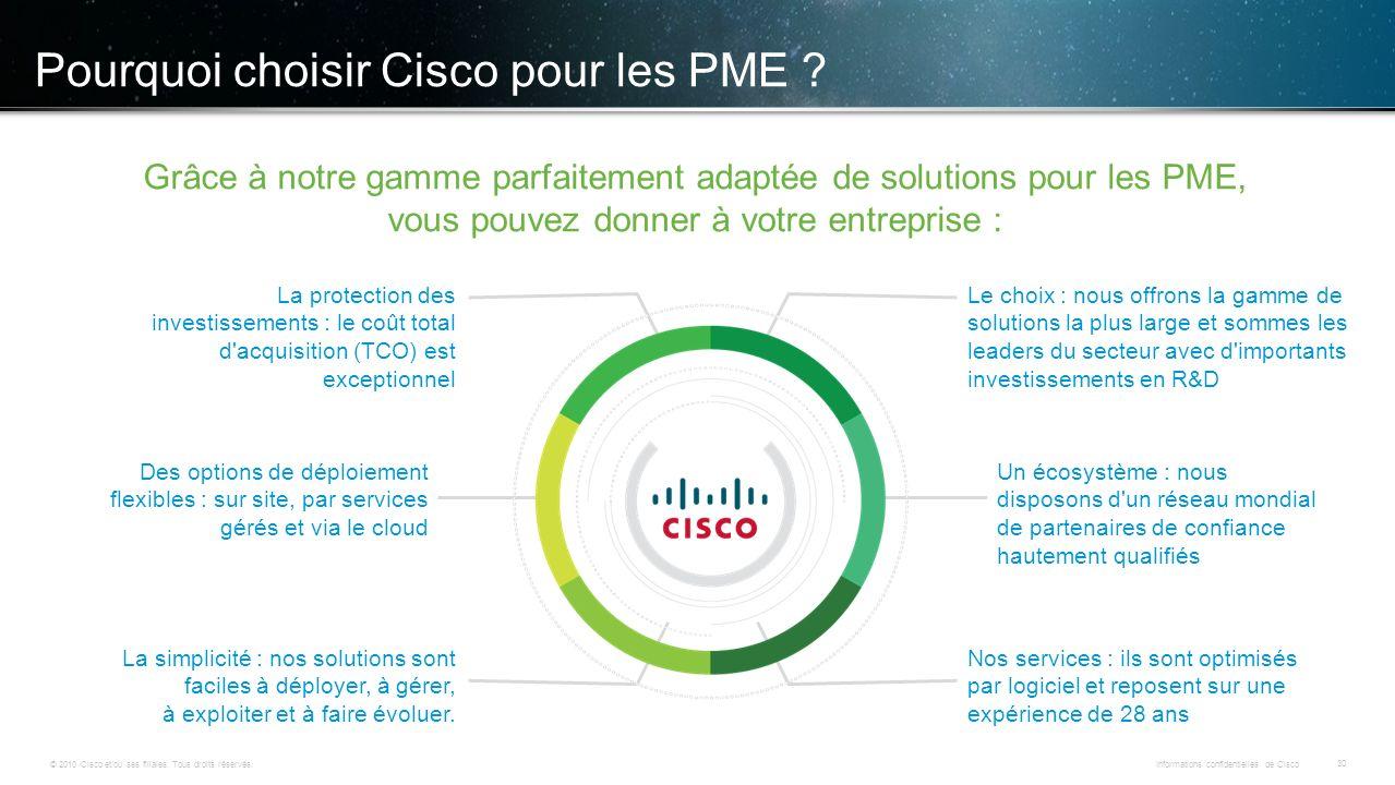© 2010 Cisco et/ou ses filiales. Tous droits réservés. Informations confidentielles de Cisco 30 Pourquoi choisir Cisco pour les PME ? Grâce à notre ga