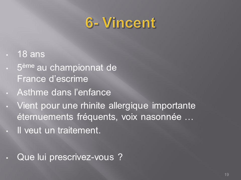 18 ans 5 ème au championnat de France descrime Asthme dans lenfance Vient pour une rhinite allergique importante éternuements fréquents, voix nasonnée … Il veut un traitement.