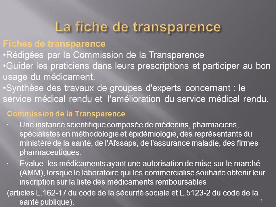 Commission de la Transparence Une instance scientifique composée de médecins, pharmaciens, spécialistes en méthodologie et épidémiologie, des représentants du ministère de la santé, de lAfssaps, de l assurance maladie, des firmes pharmaceutiques.