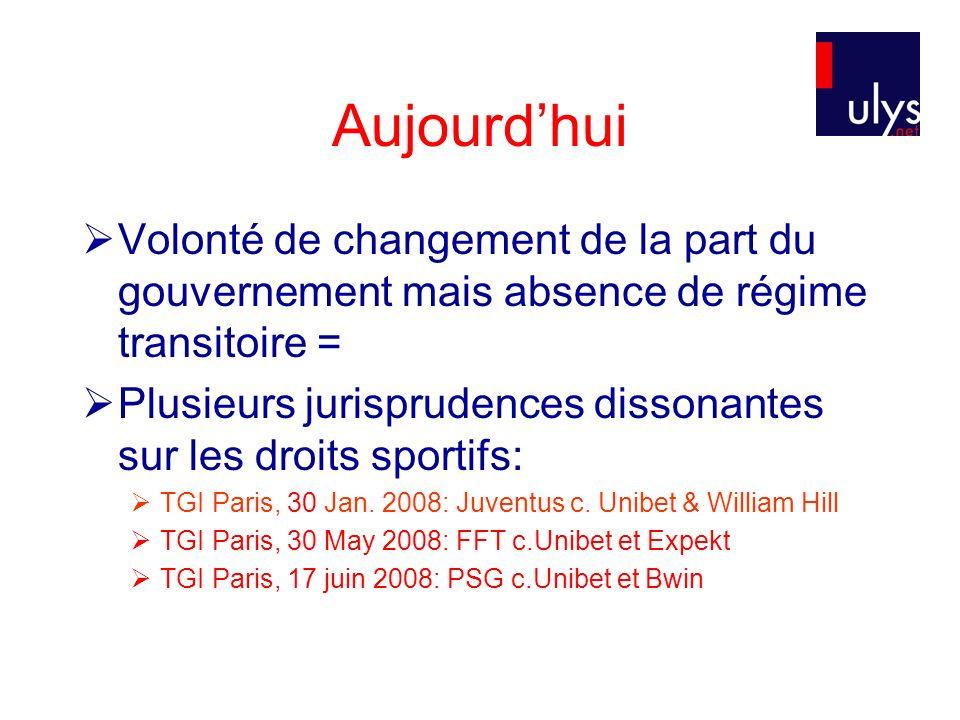 Aujourdhui Volonté de changement de la part du gouvernement mais absence de régime transitoire = Plusieurs jurisprudences dissonantes sur les droits sportifs: TGI Paris, 30 Jan.