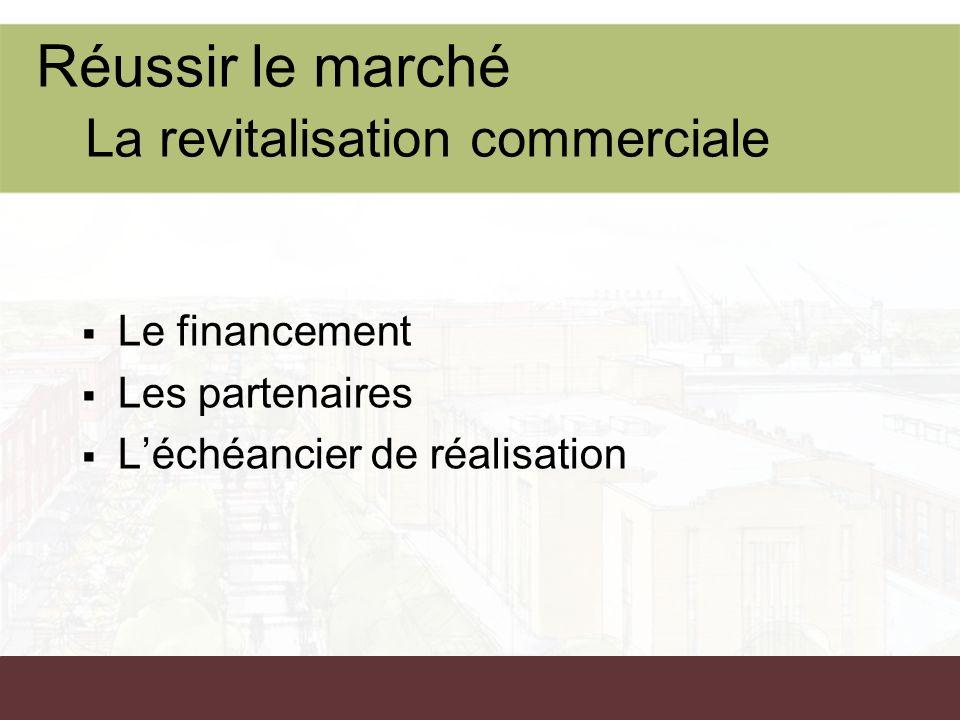 Réussir le marché La revitalisation commerciale Le financement Les partenaires Léchéancier de réalisation