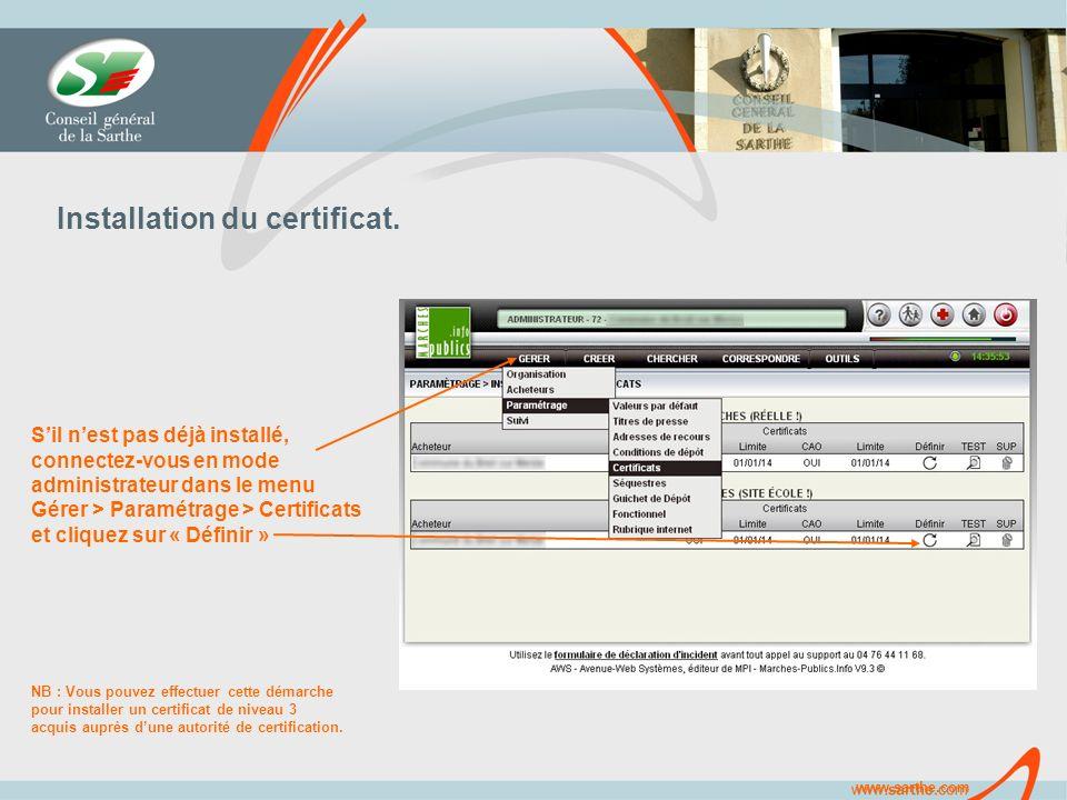 www.sarthe.com Installation du certificat.