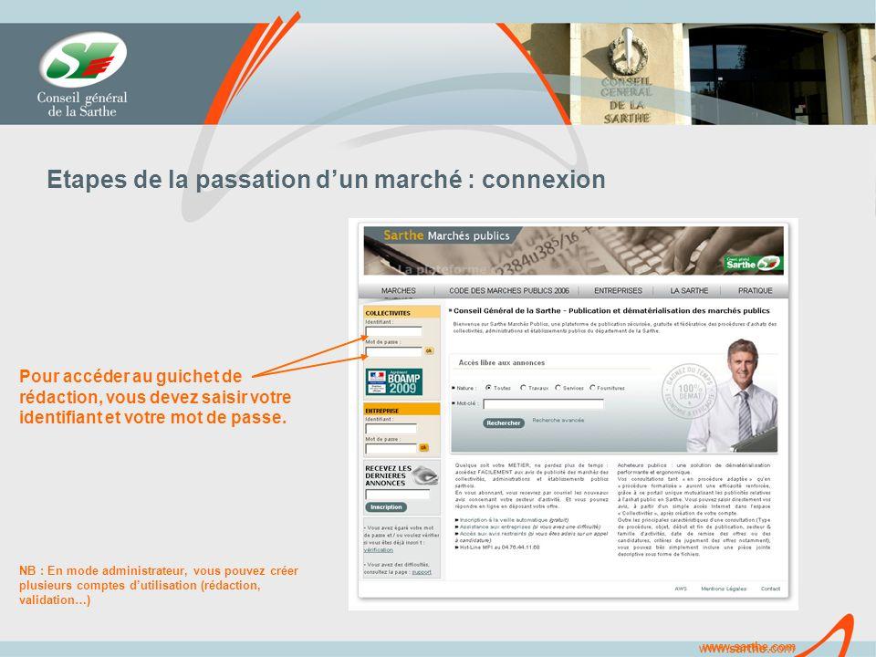 www.sarthe.com Etapes de la passation dun marché : connexion Pour accéder au guichet de rédaction, vous devez saisir votre identifiant et votre mot de passe.