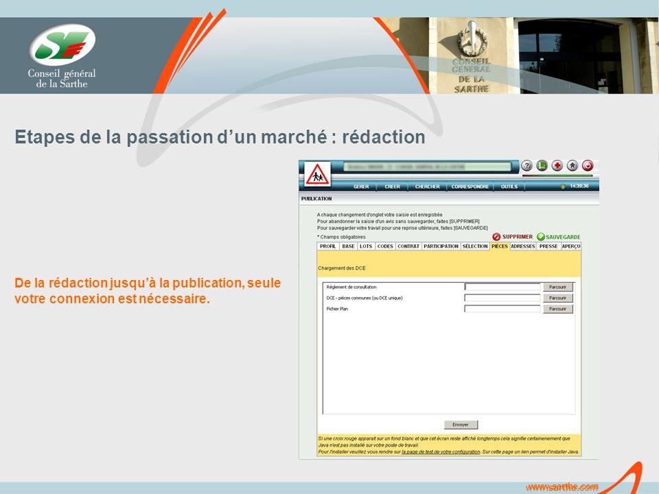 www.sarthe.com Etapes de la passation dun marché : rédaction De la rédaction jusquà la publication, seule votre connexion est nécessaire.