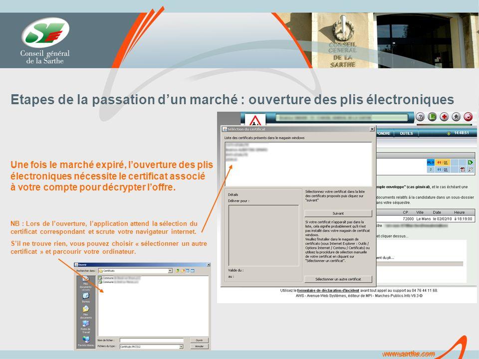 www.sarthe.com Etapes de la passation dun marché : ouverture des plis électroniques Une fois le marché expiré, louverture des plis électroniques nécessite le certificat associé à votre compte pour décrypter loffre.