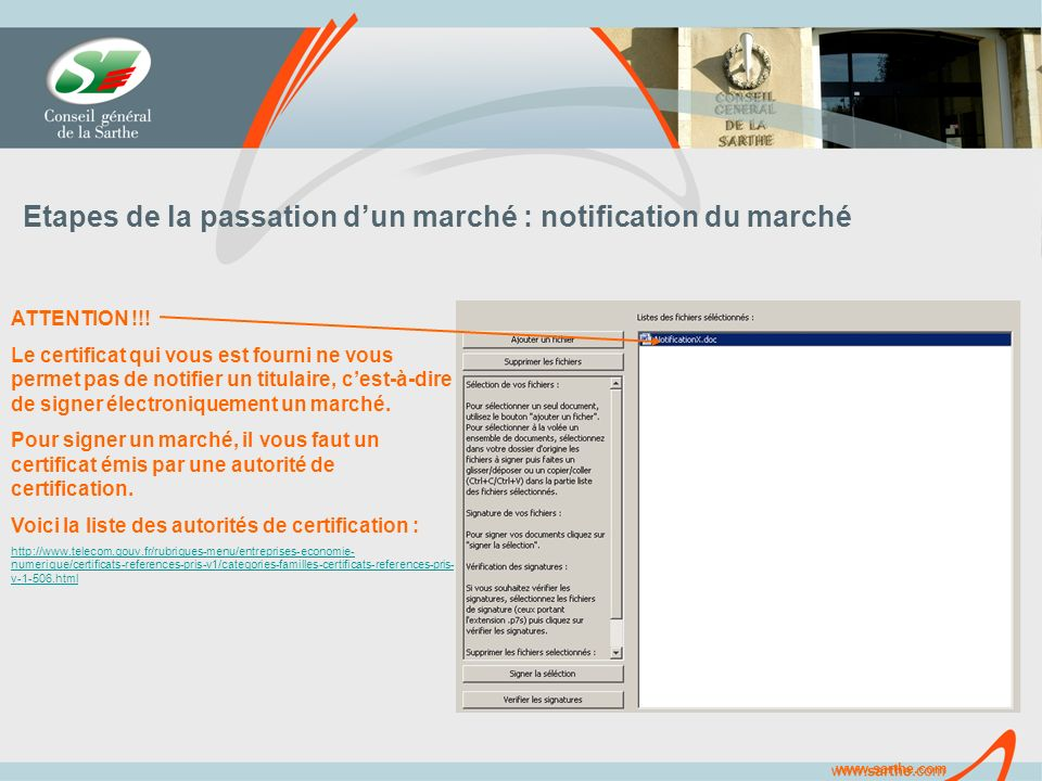 Etapes de la passation dun marché : notification du marché ATTENTION !!.